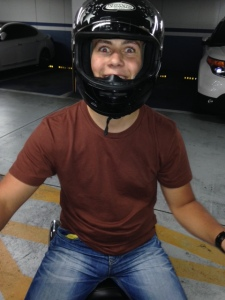 A biker happy